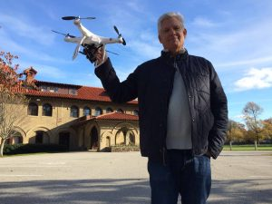 John Rice shooting aerial shots with Go Pro drone